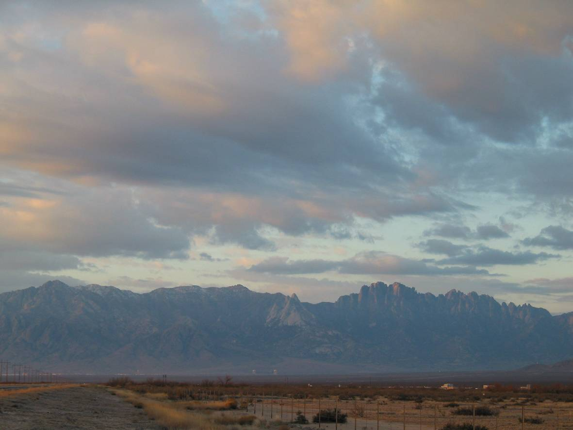 Daybreak over Organ Mountains from White Sands Missile Range, New Mexico -- 22 January 2004, Randall Steinhoff