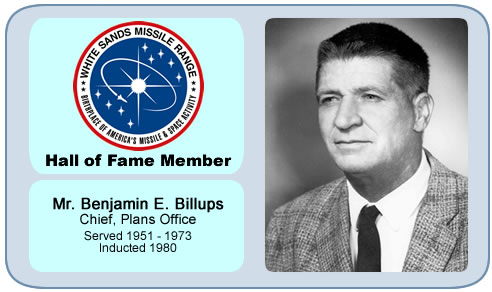 Photo of Benjamin E. Billups   Chief, Plans Office   Served 1951 – 1973   Inducted 1980