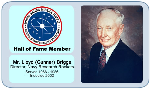 Photo of Lloyd (Gunner) Briggs   Director, Navy Research Rockets   Served 1966 – 1986   Inducted 2004