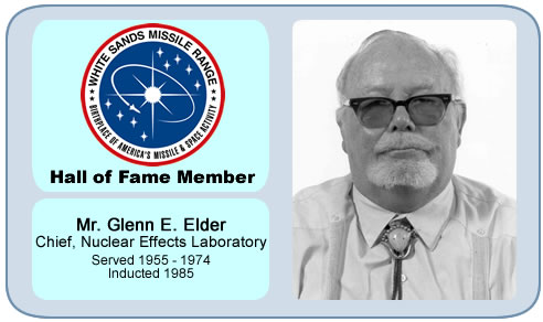 Photo of Glenn E. Elder   Chief, Nuclear Effect Laboratory   Served 1953 - 1974   Inducted 1985