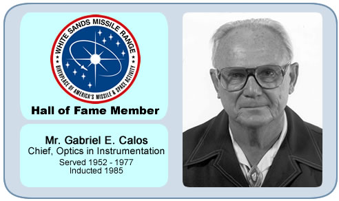 Photo of Gabriel E. Galos   Chief, Optics Division, Instrumentation Directorate   Served 1952 - 1977   Inducted 1985