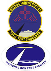 Logos: Patch of the 781st Test Squadron and the National RCS Test Facility