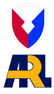 Logos: Shoulder sleeve insignia of Army Material Command and the Army Research Laboratory