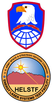 Logos: Shoulder sleeve insignia of Space and Missile Defense Command and the U.S. Army High Energy Laser Systems Test Facility