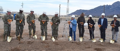 ​From left: White Sands Missile Range Commander Brig. Gen. Greg Brady, Command Sgt. Maj. William Wofford, White Sands Test Center Commander Col. David Cheney, Garrison Commander Col. Chris Ward, Garrison Command Sgt. Maj. Robert Parker, White Sands Missile Range Historical Foundation President Francis Williams, White Sands Missile Range Historical Foundation Treasurer Jon Gibson, Field Representative for U.S. Senator Martin Heinrich, Dara Parker, Field Representative for U.S. Senator Tom Udall, Rene Romo, and DPW Director Jose Gallegos break ground for a new museum gallery during the Jan. 15 ceremony at the White Sands Missile Range Museum. (U.S. Army photo by Chuck Roberts)